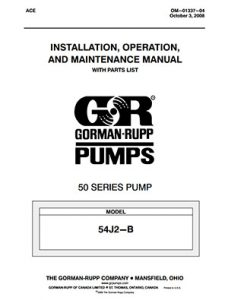 Gorman-Rupp 50 Series IOM brochure pdf Detroit Pump